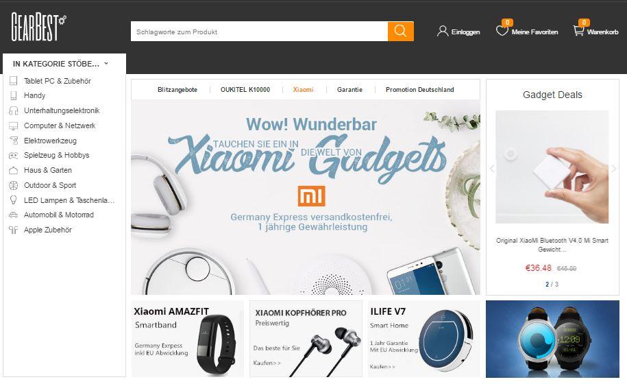 Gearbest deutsche Webpräsenz