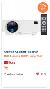 Alfawise A8 Projektor mit falschen Angaben