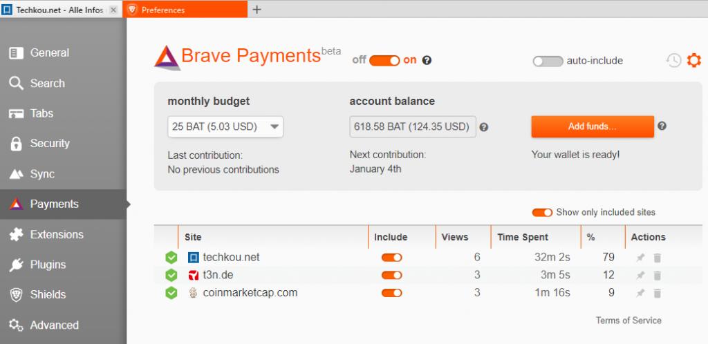 bat brave payment tab