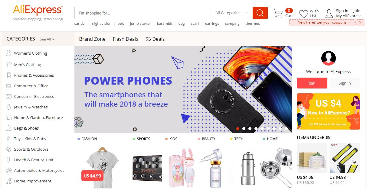 Aliexpress webseite design
