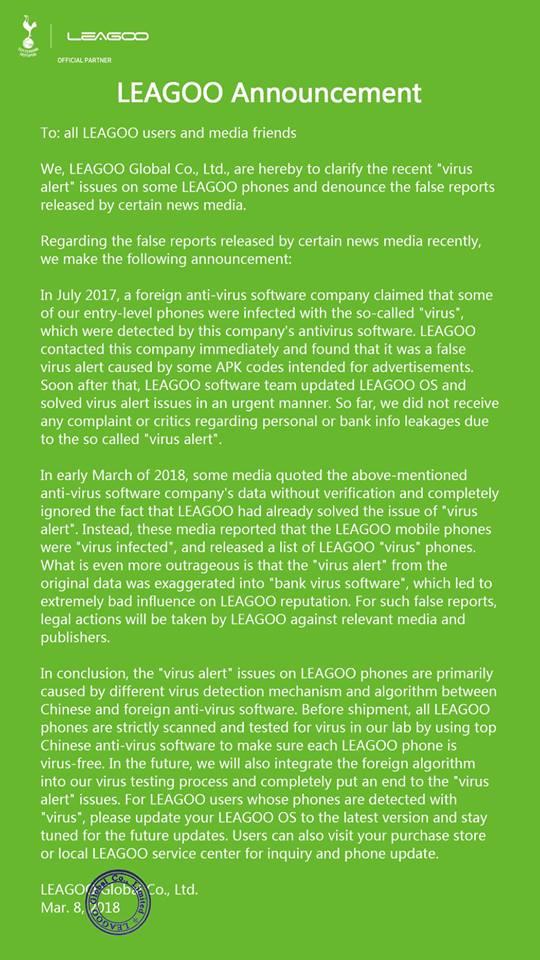 Leagoo trojaner zweite statement mit Drohung rechtlicher Schritte
