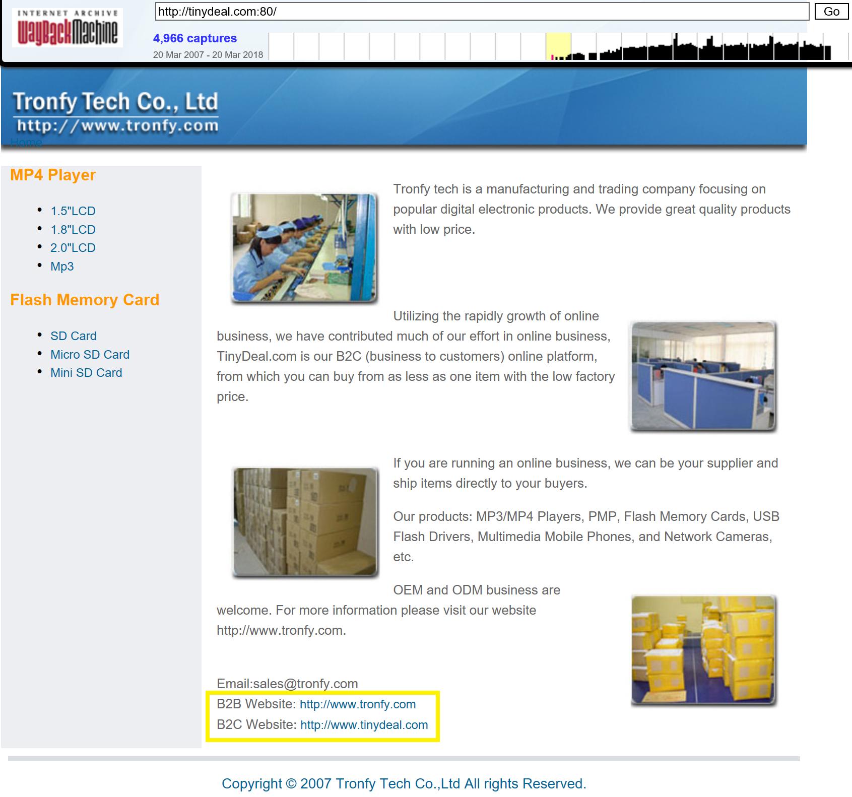 TinyDeal Geschichte Verkauf