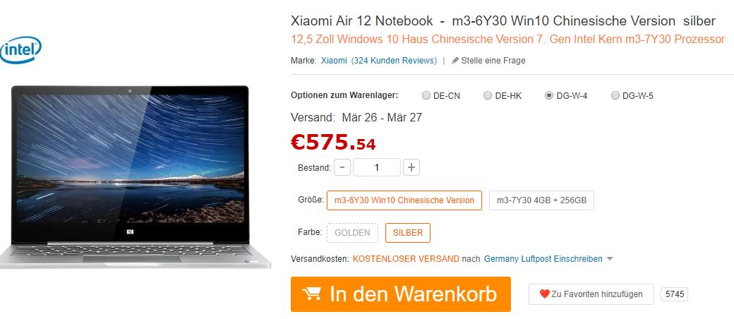 xiaomi air notebook auf de.gearbest.com teurer