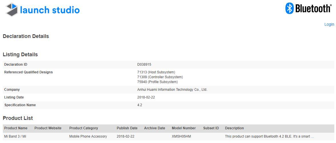 Xiaomi Mi band 3 bluetooth lizenz
