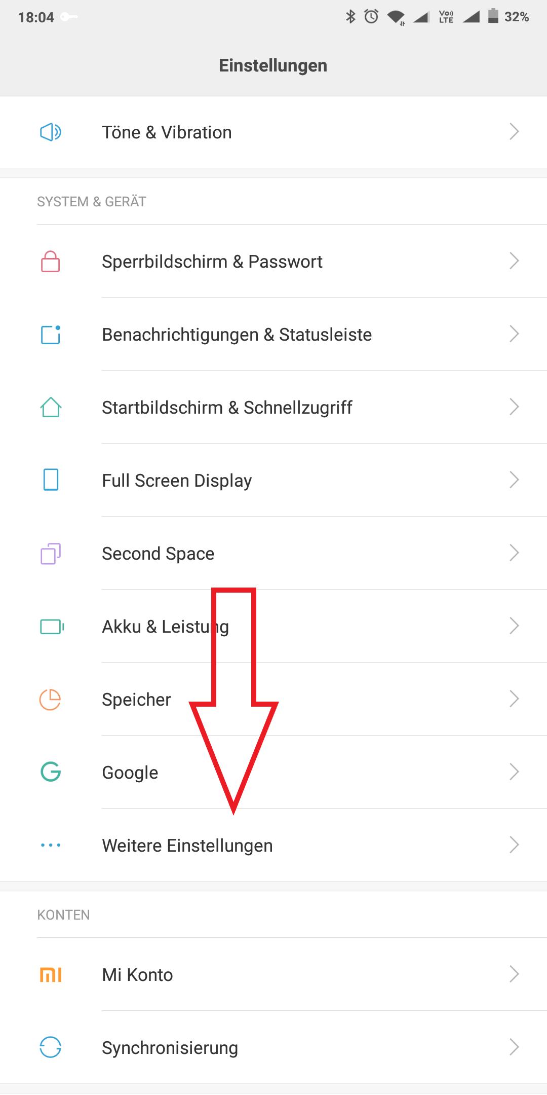 Xiaomi Einstellung Entwickler