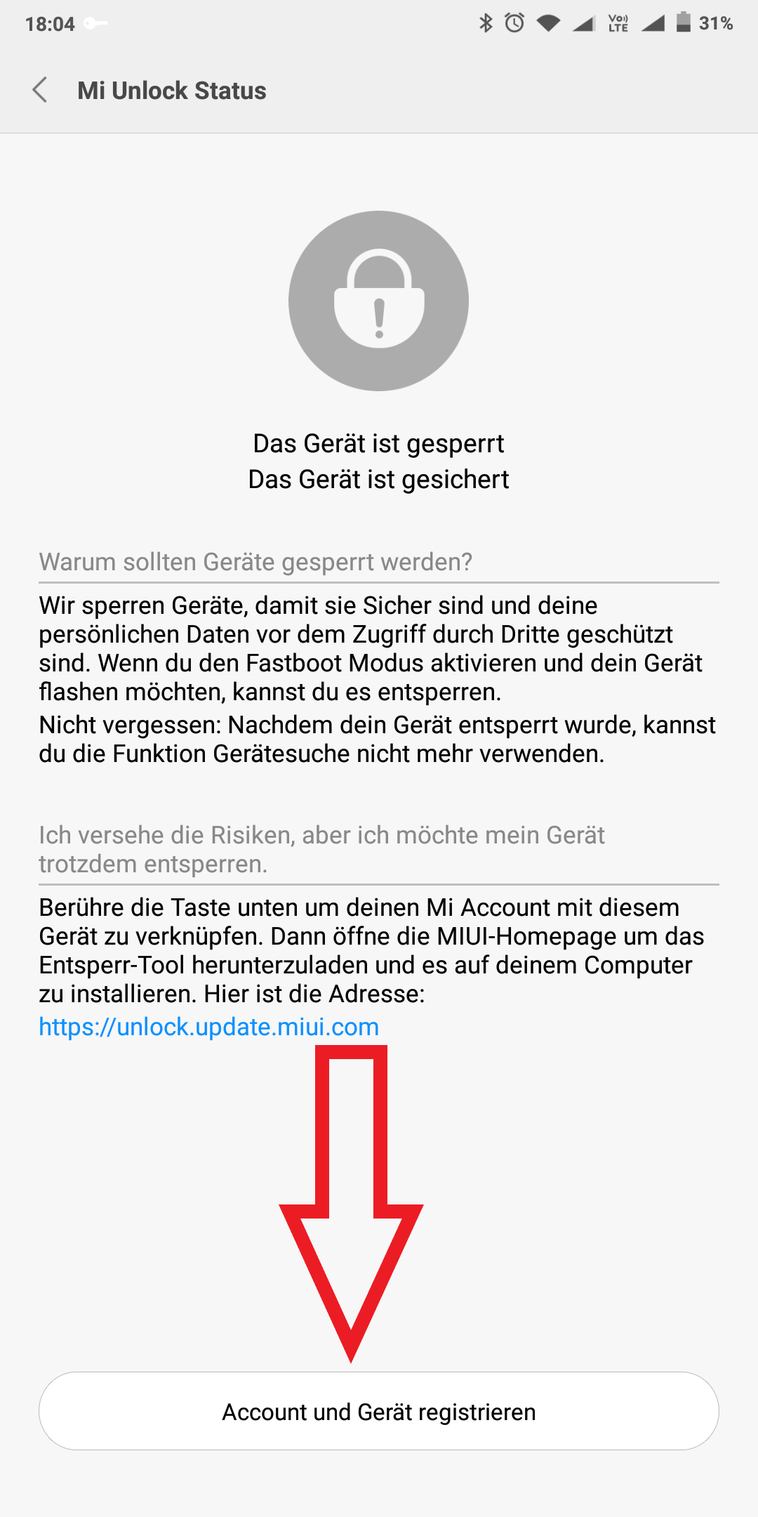 Xiaomi Account Registrieren