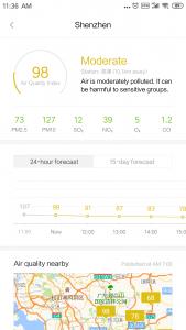shenzhen luftverschmutzung laut xiaomi app