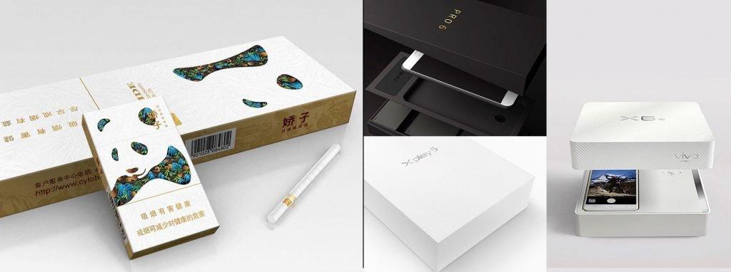 zigaretten und smartphoneverpackungen des xiaomi partners jinjia group